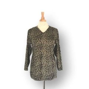 Vintage Jaclyn Smith LEOPARD Pattern Velour Shirt